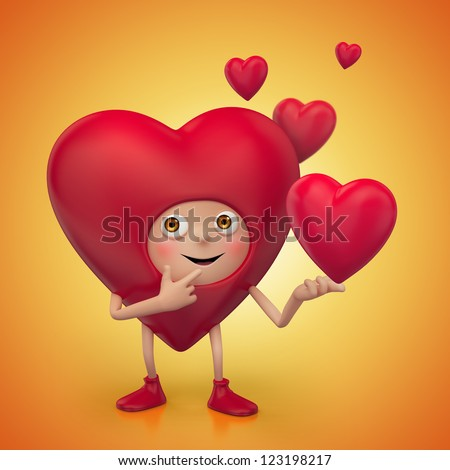 red heart cartoon with funny face. Valentine's day greeting. Three dimensional character render - stock photo