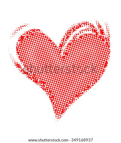 red heart, drawn by hand, isolated on white  - stock photo