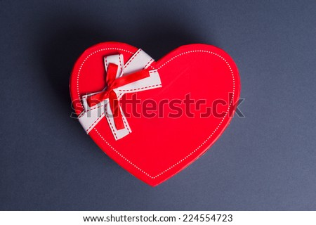 red heart gift box  - stock photo
