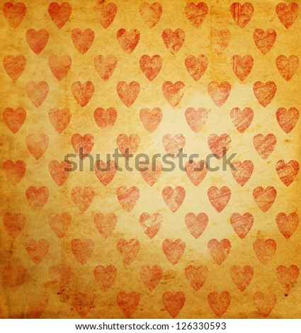 Red heart grunge background. - stock photo