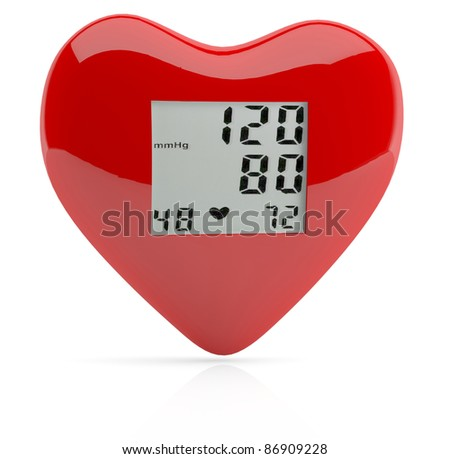 Red heart health. 3D model - stock photo