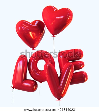 Red heart helium LOVE Balloons with glossy reflections isolated. 3d rendering - stock photo