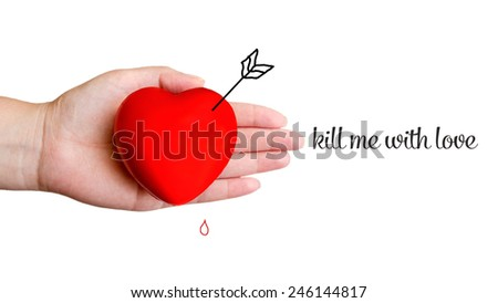 Red heart in hand with sign isolated - stock photo