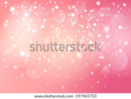 Red heart in the pink snow bokeh background.  Illustration format. - stock photo