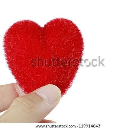 Red heart in woman's hands, on white background - stock photo