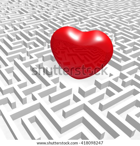 Red heart into labyrinth. (3D render illustration). - stock photo