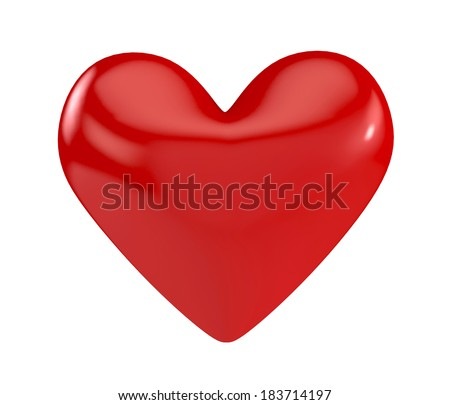 red heart isolated on white. 3d illustration - stock photo