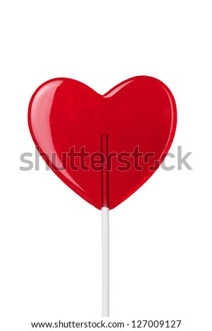 red heart-lollipop isolated on white - stock photo
