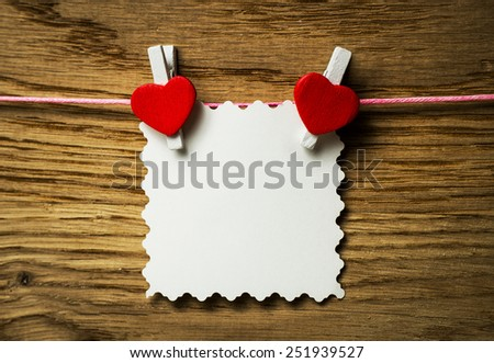 Red heart message card and red heart ..Image of Valentines day. - stock photo