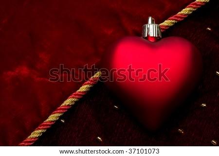 Red heart of dark velvet - stock photo