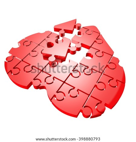 Red heart of the puzzle. 3d illustration - stock photo
