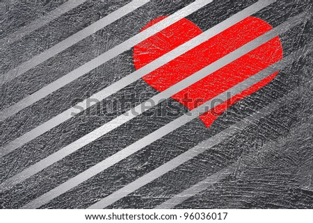 Red heart on abstract  line background - stock photo