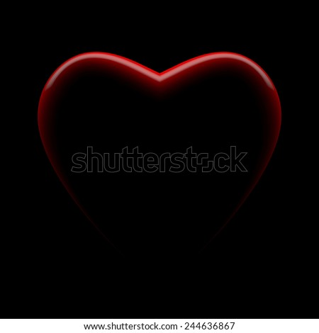 Red heart on black - stock photo