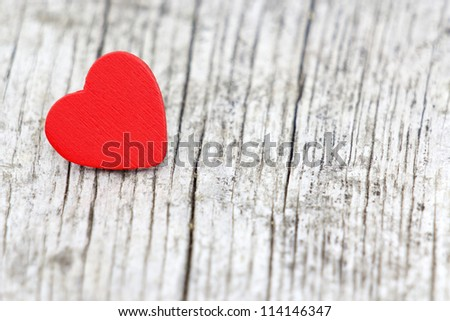 red heart on wooden background, Valentines Day background - stock photo