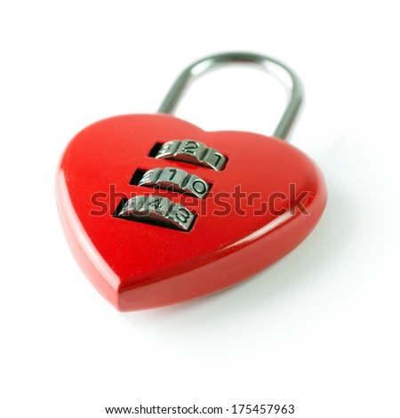 Red heart shape combination padlock with 214 security code - stock photo