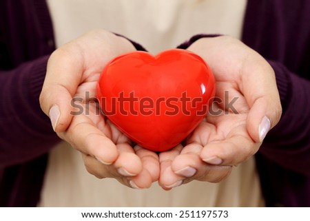 Red heart shape in the hands - stock photo
