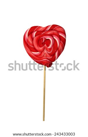Red heart shaped Lollipop - stock photo