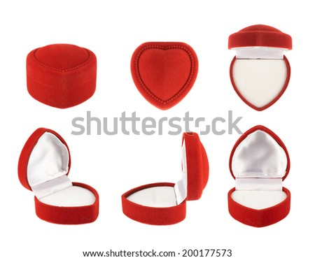 Red, heart shaped velvet box for the ring, isolated over the white background, set of six foreshortenings - stock photo