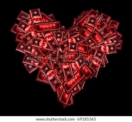 Red heart sign shaped with many 100 dollar banknotes on black - stock photo