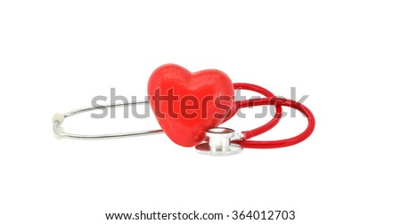 Red heart stethoscope isolated on white background - stock photo