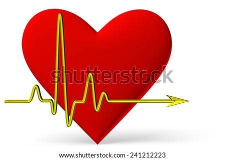 Red heart symbol with pulse line isolated on white background, 3D illustration - stock photo