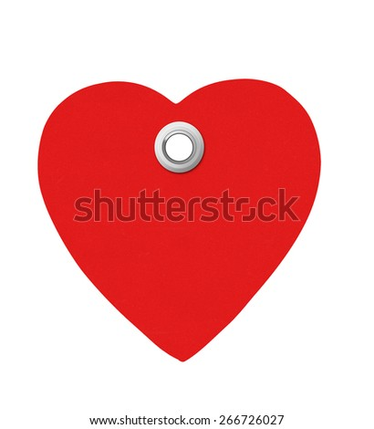 Red heart tag isolated on white background - stock photo