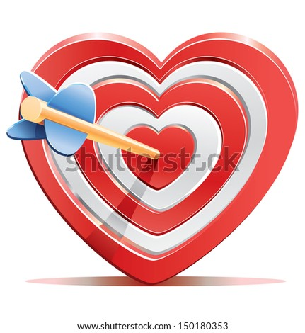 Red heart target aim with arrow  - stock photo