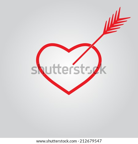 Red Heart with arrow outline icon or sign. - stock photo