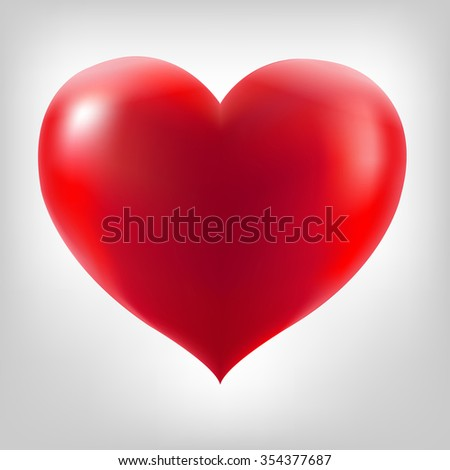 Red Heart With Grey Background - stock photo