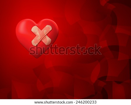 Red heart with money sign band aids on abstract background depicting the idea of the cost of long/shot term temporary solutions for cardiovascular diseases in healthcare and pharmaceuticals business.  - stock photo