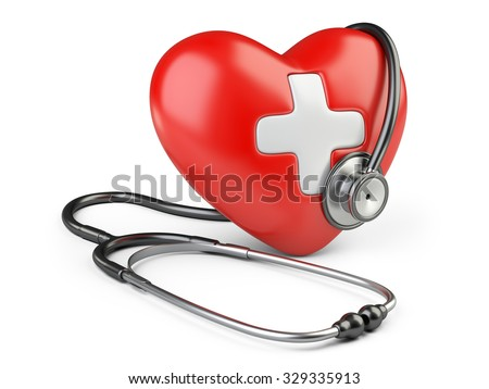 Red heart with white cross and a stethoscope, isolated on white background 3d image. - stock photo
