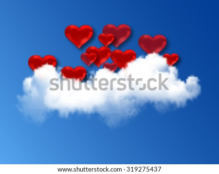 red hearts and clouds - stock photo