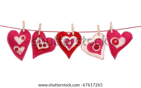 Red hearts isolated on white background - stock photo