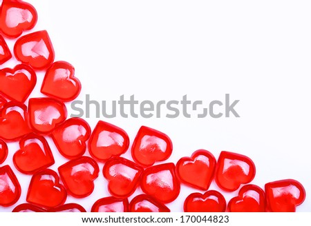 Red Hearts isolated on white background with space for the text. Valentine's Day. - stock photo