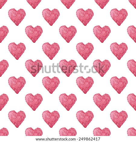 Red hearts seamless pattern. Real watercolor painting. Perfect for St Valentines Day greeting cards. - stock photo