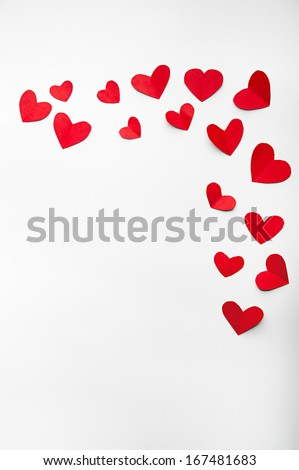 red hearts valentine's day on an isolated white background - stock photo