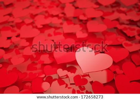 Red Hearts with shallow depth of field - stock photo