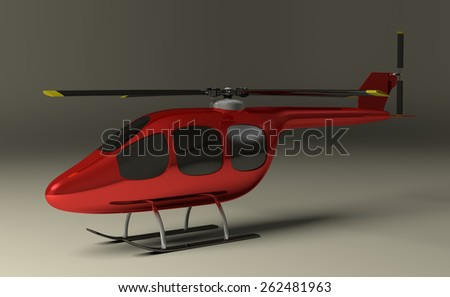 Red helicopter with black tinted windows on gray squared background, perspective view - stock photo