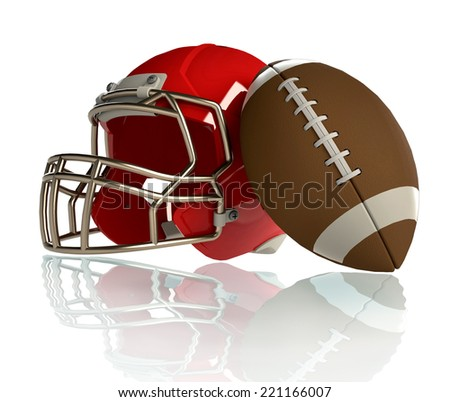 red helmet and ball for a american football game, isolated on white background - stock photo