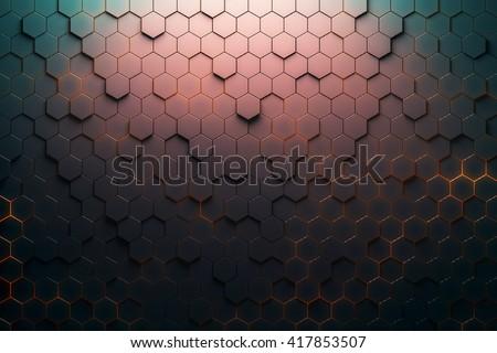 Red hexagon pattern. 3D Rendering - stock photo