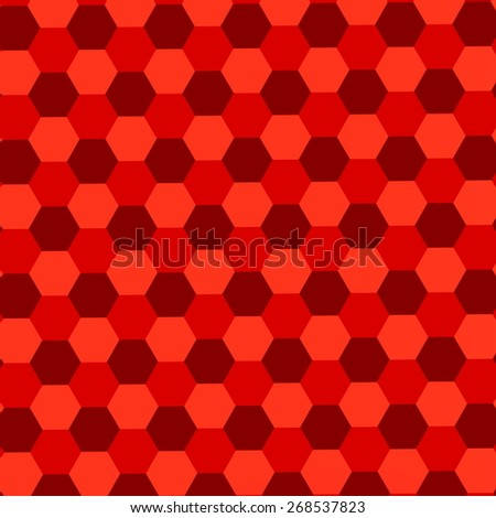 Red Hexagons Background. Abstract Geometric Pattern. Mosaic Tile Wallpaper. Endless Floor Tiles. Simple Stylish Tiling. Blank Polygonal Backgrounds. Minimalistic Tiled Parquet. Trendy Composition. - stock photo
