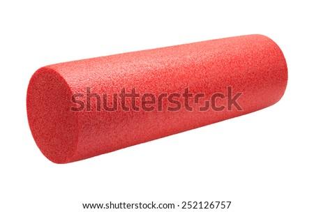 Red High Density Foam Exercise Roller isolated on white. - stock photo