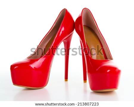 Red high heel women shoe isolated on white background - stock photo