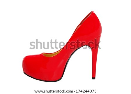 red high heeled woman shoe isolated on white background - stock photo