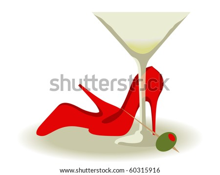 Red High Heels and a Martini - stock photo