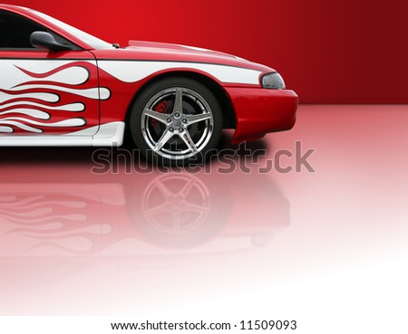 Red high performance street racer with copy space - Clipping Path Included - stock photo