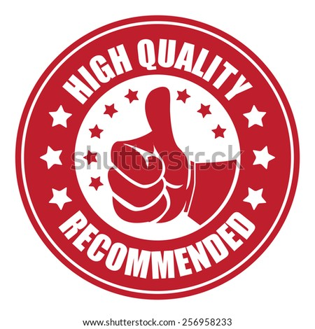 red high quality recommended sticker, badge, icon, stamp, label, banner, sign isolated on white - stock photo
