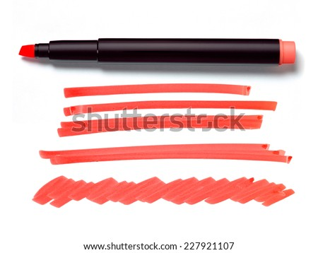 Red Highlighter Pen and Doodles Isolated on White Background with Real Shadow and Text Space - stock photo