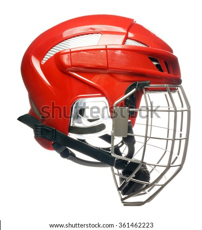 Red hockey helmet with cage isolated on white - stock photo