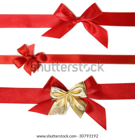 red holiday bow on white background - stock photo